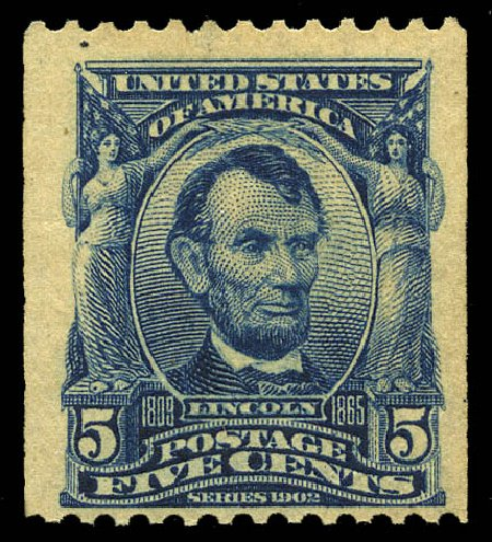 US Stamps Value Scott Cat. # 317 - 5c 1908 Lincoln Coil. Matthew Bennett International, May 2014, Sale 350, Lot 465