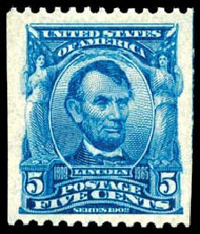 US Stamps Prices Scott 317 - 5c 1908 Lincoln Coil. Schuyler J. Rumsey Philatelic Auctions, Apr 2015, Sale 60, Lot 2325