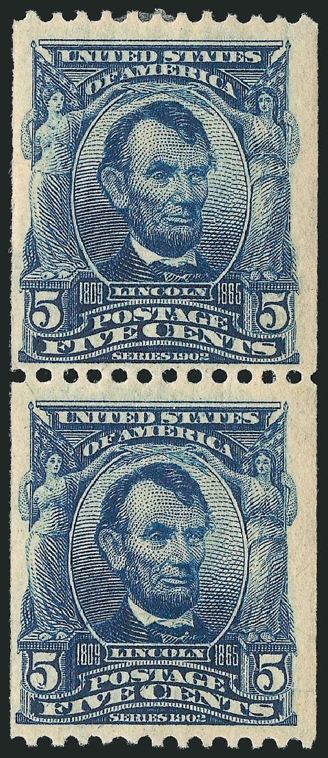 US Stamps Values Scott 317 - 1908 5c Lincoln Coil. Robert Siegel Auction Galleries, Dec 2012, Sale 1037, Lot 1973
