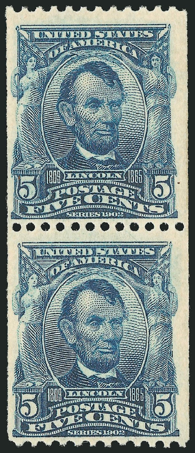 US Stamp Prices Scott #317 - 1908 5c Lincoln Coil. Robert Siegel Auction Galleries, Dec 2013, Sale 1062, Lot 496