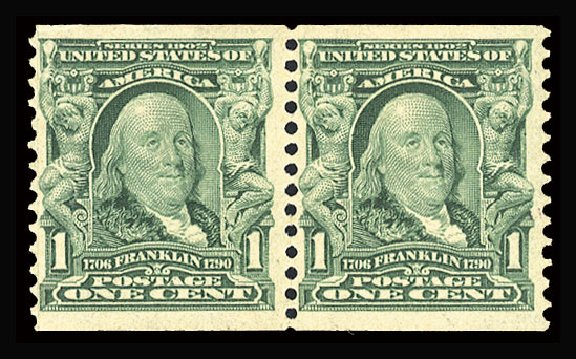 Prices of US Stamps Scott # 318 - 1c 1908 Franklin Coil. Cherrystone Auctions, May 2015, Sale 201505, Lot 38