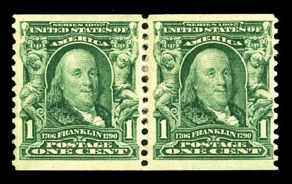 US Stamps Values Scott Catalog #318: 1c 1908 Franklin Coil. Cherrystone Auctions, Jul 2015, Sale 201507, Lot 2108
