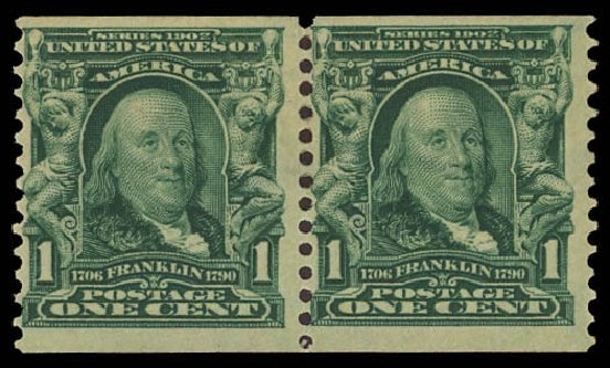 Value of US Stamps Scott Catalogue # 318 - 1c 1908 Franklin Coil. Daniel Kelleher Auctions, Aug 2012, Sale 631, Lot 1068