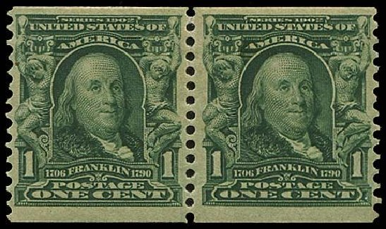 US Stamps Price Scott Catalog # 318 - 1c 1908 Franklin Coil. Regency-Superior, Aug 2015, Sale 112, Lot 688