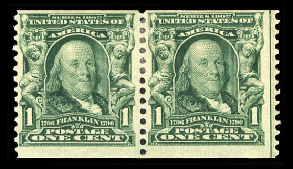 US Stamps Value Scott # 318: 1908 1c Franklin Coil. Cherrystone Auctions, Oct 2012, Sale 201210, Lot 129