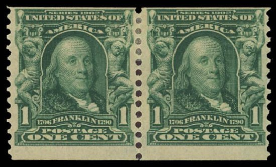 US Stamp Values Scott Cat. # 318: 1908 1c Franklin Coil. Daniel Kelleher Auctions, Aug 2012, Sale 631, Lot 1069