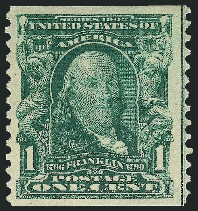 US Stamp Prices Scott Catalog # 318: 1908 1c Franklin Coil. Robert Siegel Auction Galleries, Feb 2015, Sale 1093, Lot 49