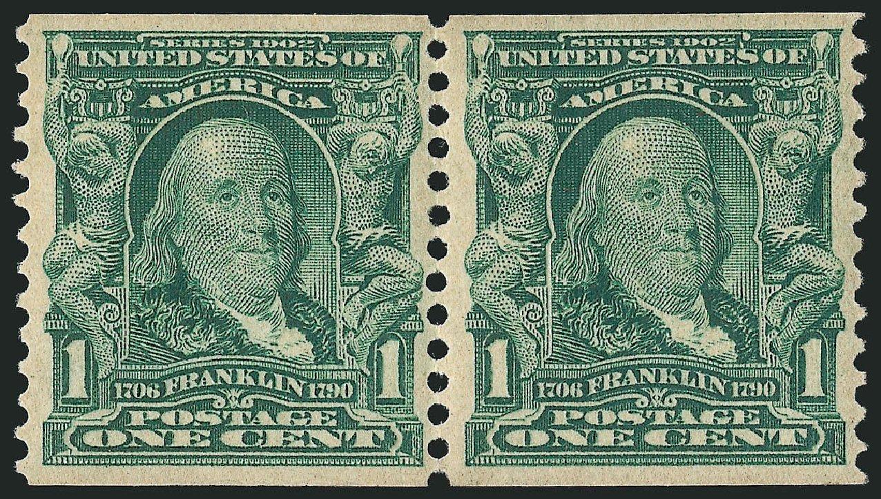 US Stamp Values Scott Catalogue # 318: 1908 1c Franklin Coil. Robert Siegel Auction Galleries, Apr 2015, Sale 1096, Lot 559