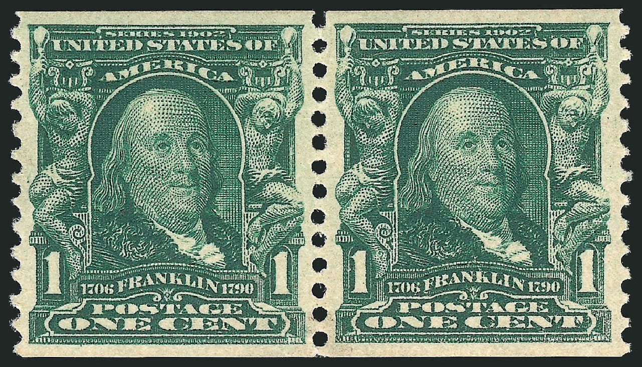 US Stamps Value Scott Catalog 318 - 1c 1908 Franklin Coil. Robert Siegel Auction Galleries, Jun 2015, Sale 1106, Lot 3149