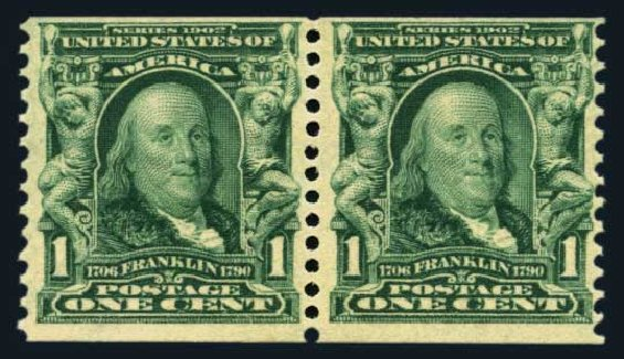 Prices of US Stamps Scott 318 - 1908 1c Franklin Coil. Harmer-Schau Auction Galleries, Aug 2014, Sale 102, Lot 1970