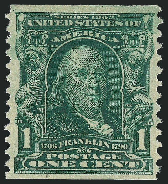 Price of US Stamp Scott #318: 1c 1908 Franklin Coil. Robert Siegel Auction Galleries, Oct 2012, Sale 1033, Lot 4180