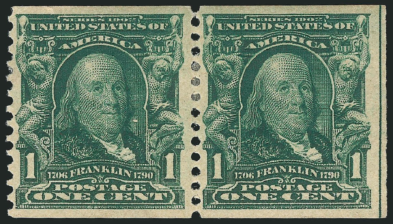 Costs of US Stamps Scott Cat. #318 - 1908 1c Franklin Coil. Robert Siegel Auction Galleries, Feb 2015, Sale 1093, Lot 50