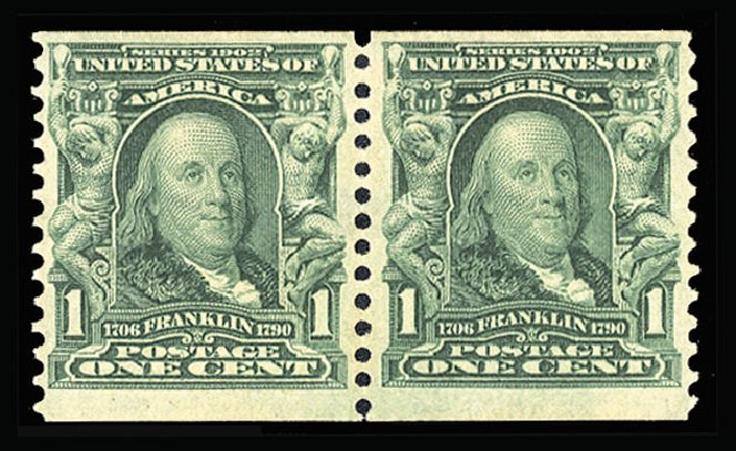 Value of US Stamp Scott Catalogue #318: 1c 1908 Franklin Coil. Cherrystone Auctions, Jul 2015, Sale 201507, Lot 71