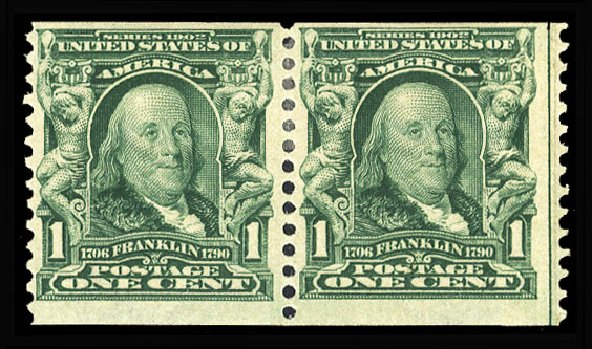 US Stamps Prices Scott Catalog # 318 - 1908 1c Franklin Coil. Cherrystone Auctions, Jan 2015, Sale 201501, Lot 175