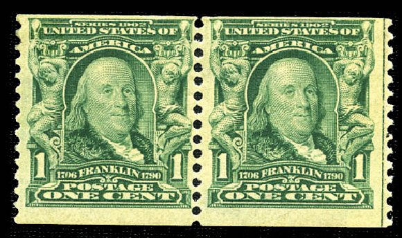 Value of US Stamp Scott Catalogue # 318: 1c 1908 Franklin Coil. Matthew Bennett International, Feb 2012, Sale 340, Lot 402