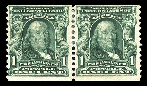 Values of US Stamps Scott #318 - 1c 1908 Franklin Coil. Cherrystone Auctions, Apr 2012, Sale 201204, Lot 112