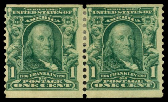 US Stamps Price Scott Catalog 318 - 1c 1908 Franklin Coil. Daniel Kelleher Auctions, Mar 2014, Sale 648, Lot 2133