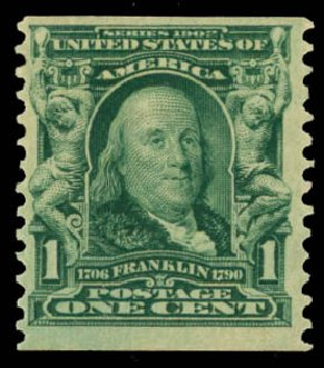 Price of US Stamps Scott Cat. # 318: 1c 1908 Franklin Coil. Daniel Kelleher Auctions, May 2014, Sale 652, Lot 483