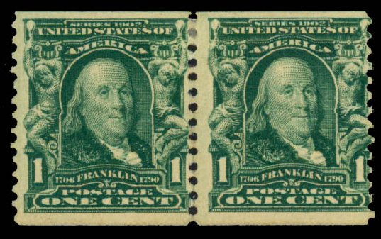 US Stamp Prices Scott Catalogue 318 - 1c 1908 Franklin Coil. Daniel Kelleher Auctions, May 2015, Sale 669, Lot 2873