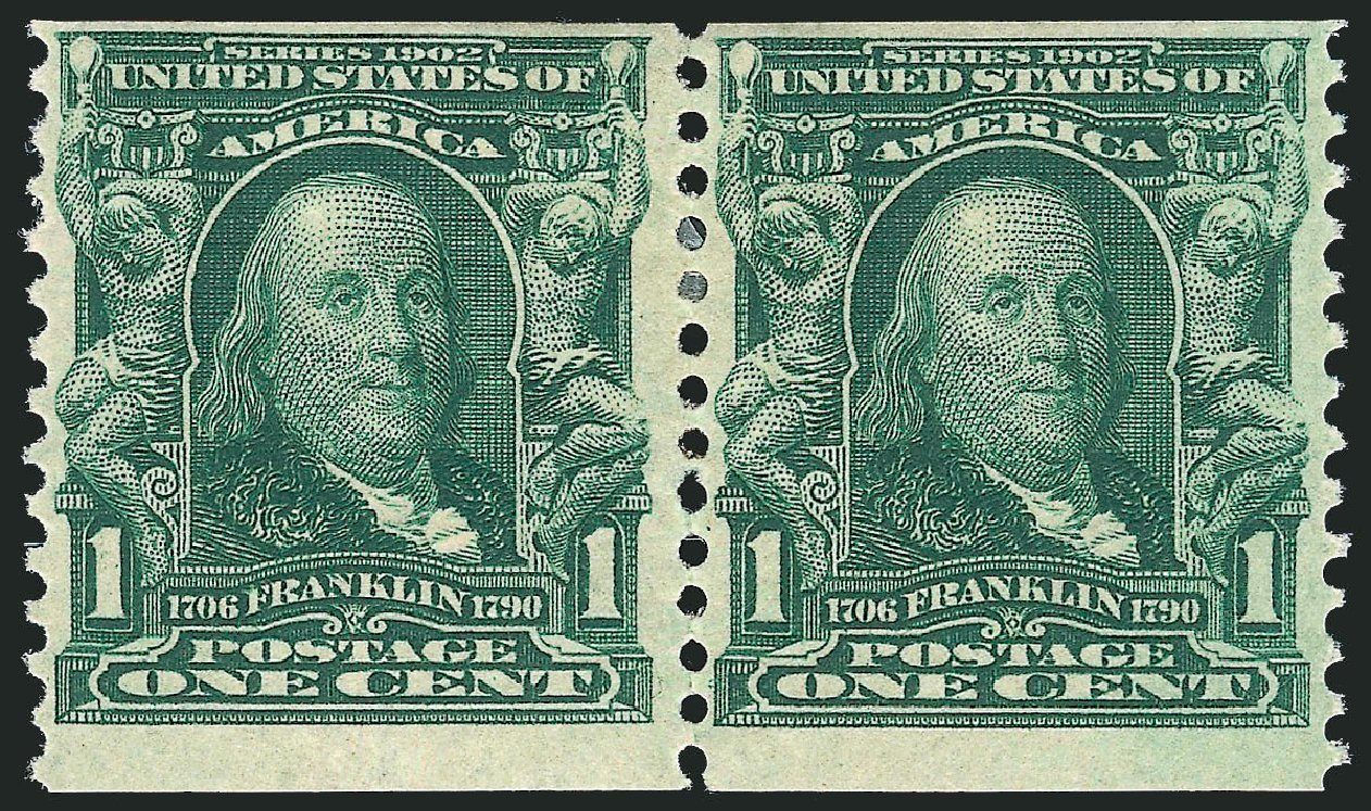 Cost of US Stamp Scott Catalog # 318 - 1c 1908 Franklin Coil. Robert Siegel Auction Galleries, Mar 2012, Sale 1021, Lot 483