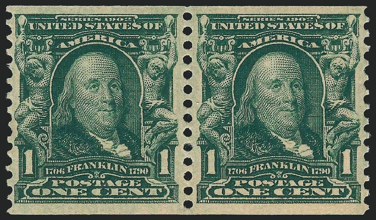 Costs of US Stamp Scott Cat. 318 - 1c 1908 Franklin Coil. Robert Siegel Auction Galleries, Jun 2012, Sale 1025, Lot 213