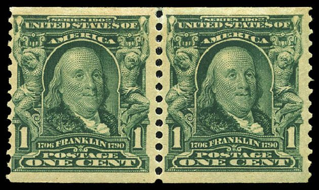 US Stamp Prices Scott #318 - 1c 1908 Franklin Coil. Matthew Bennett International, May 2014, Sale 350, Lot 466