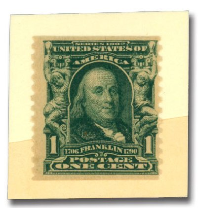 US Stamps Prices Scott Catalogue # 318: 1908 1c Franklin Coil. Daniel Kelleher Auctions, Dec 2013, Sale 640, Lot 296