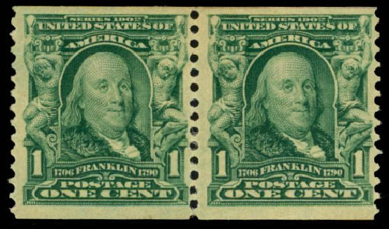 Values of US Stamps Scott Catalog # 318 - 1908 1c Franklin Coil. Daniel Kelleher Auctions, Oct 2014, Sale 660, Lot 2326