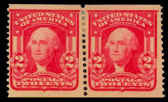 US Stamps Prices Scott Cat. # 320 - 1906 2c Washington Imperf. Daniel Kelleher Auctions, Sep 2014, Sale 655, Lot 397