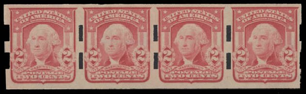 US Stamps Price Scott # 320: 1906 2c Washington Imperf. Daniel Kelleher Auctions, Aug 2015, Sale 672, Lot 2638