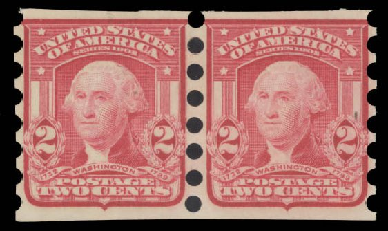 US Stamp Price Scott Catalogue 320: 1906 2c Washington Imperf. Daniel Kelleher Auctions, Aug 2015, Sale 672, Lot 2630