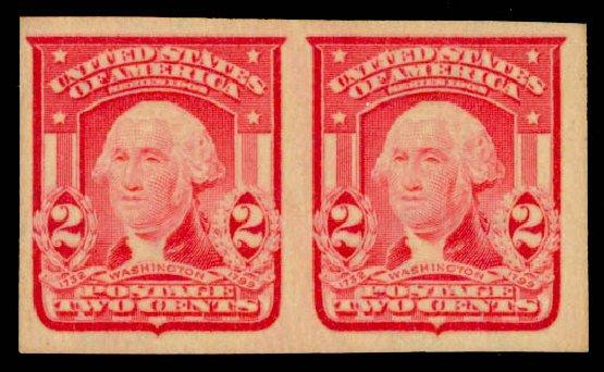 US Stamps Price Scott # 320 - 1906 2c Washington Imperf. Daniel Kelleher Auctions, Sep 2013, Sale 639, Lot 1121