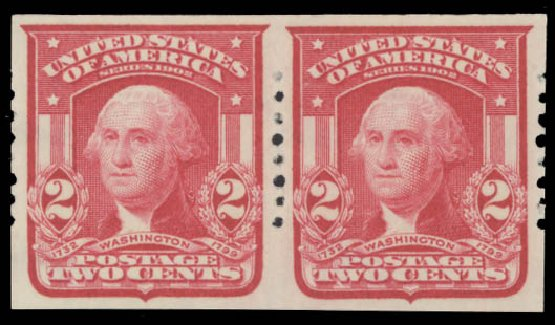 US Stamps Price Scott Cat. 320 - 2c 1906 Washington Imperf. Daniel Kelleher Auctions, Aug 2015, Sale 672, Lot 2631