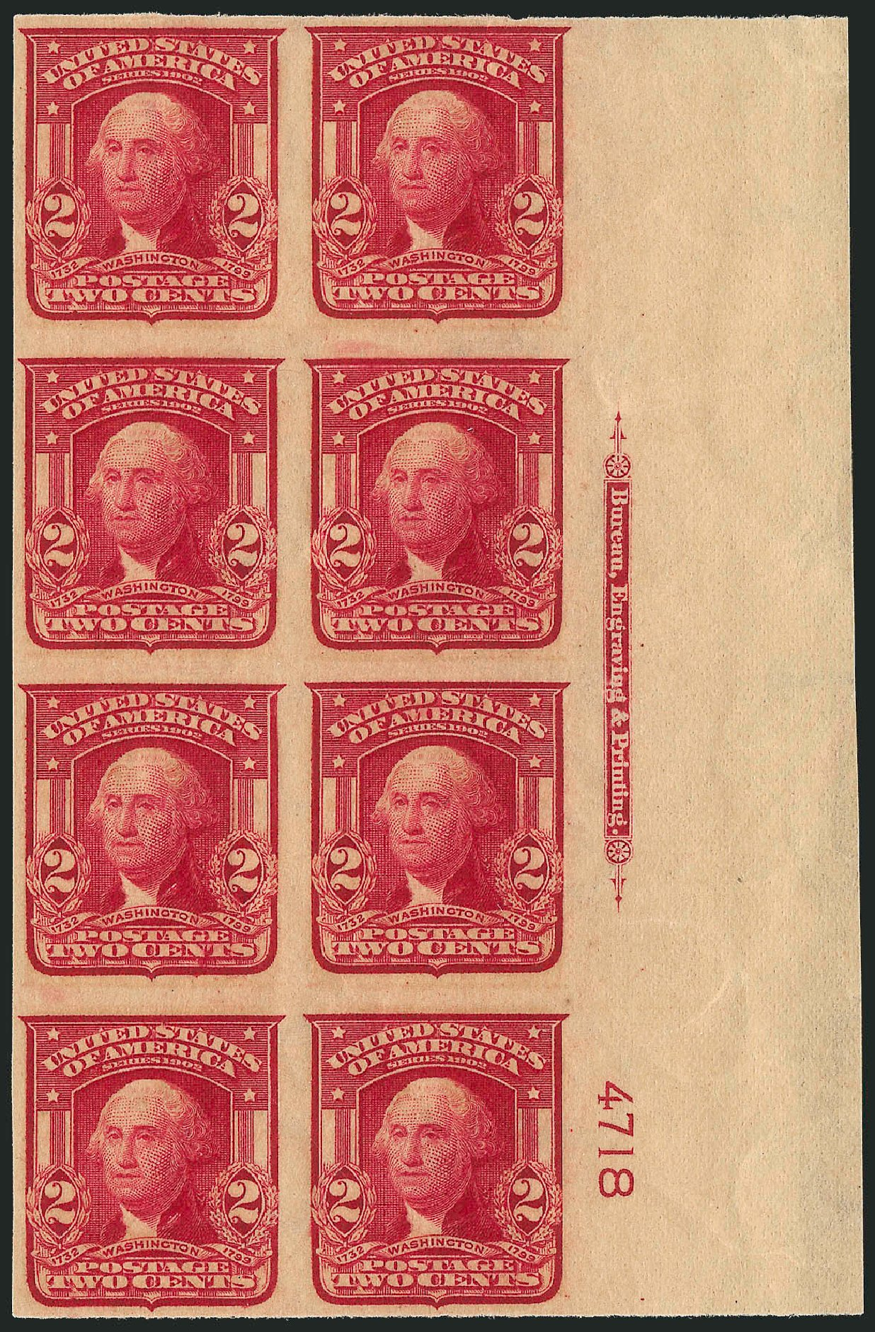 Prices of US Stamps Scott Cat. #320 - 2c 1906 Washington Imperf. Robert Siegel Auction Galleries, Sep 2014, Sale 1078, Lot 455