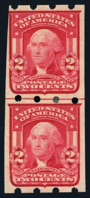 US Stamps Value Scott Catalog 320 - 2c 1906 Washington Imperf. Harmer-Schau Auction Galleries, Aug 2014, Sale 102, Lot 2223