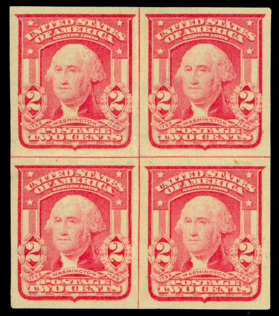 US Stamps Values Scott Catalogue # 320: 1906 2c Washington Imperf. Daniel Kelleher Auctions, Sep 2014, Sale 655, Lot 393