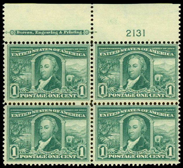 Prices of US Stamps Scott Catalogue # 323: 1904 1c Louisiana Purchase Exposition. Daniel Kelleher Auctions, May 2015, Sale 669, Lot 2877
