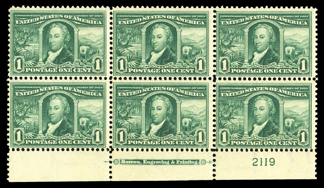 Value of US Stamps Scott Catalog 323 - 1904 1c Louisiana Purchase Exposition. Cherrystone Auctions, Jul 2015, Sale 201507, Lot 2111