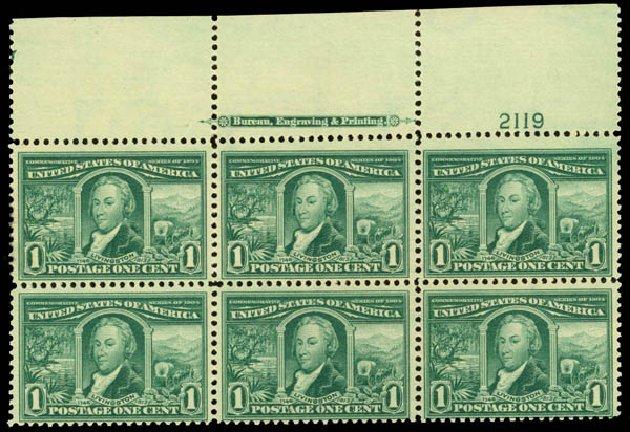 US Stamp Value Scott Cat. # 323 - 1c 1904 Louisiana Purchase Exposition. Daniel Kelleher Auctions, Sep 2014, Sale 655, Lot 631