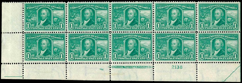 Price of US Stamps Scott Catalog 323 - 1c 1904 Louisiana Purchase Exposition. Schuyler J. Rumsey Philatelic Auctions, Apr 2015, Sale 60, Lot 2905