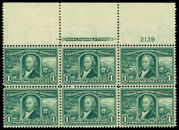 Value of US Stamp Scott Catalog 323: 1904 1c Louisiana Purchase Exposition. Daniel Kelleher Auctions, May 2014, Sale 653, Lot 2403
