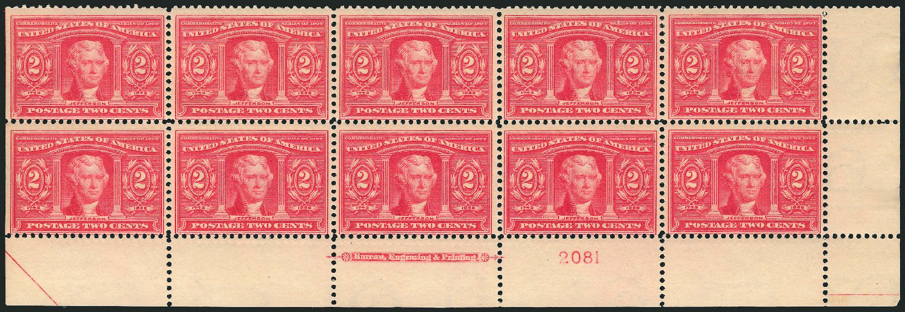 US Stamps Values Scott Catalog # 324: 1904 2c Louisiana Purchase Exposition. Robert Siegel Auction Galleries, Feb 2015, Sale 1093, Lot 63
