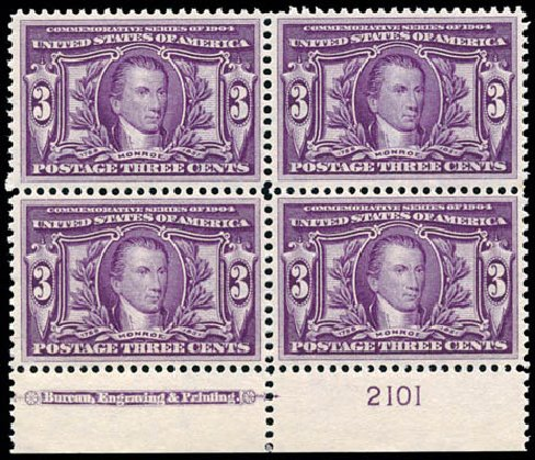 Value of US Stamps Scott Catalogue # 325 - 1904 3c Louisiana Purchase Exposition. Schuyler J. Rumsey Philatelic Auctions, Apr 2015, Sale 60, Lot 2907