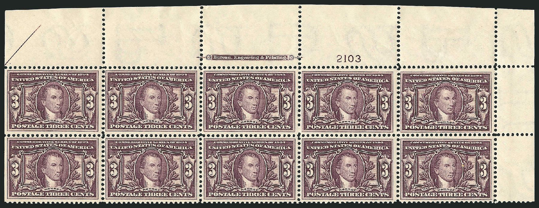 US Stamps Values Scott Catalogue 325: 3c 1904 Louisiana Purchase Exposition. Robert Siegel Auction Galleries, Feb 2015, Sale 1093, Lot 65