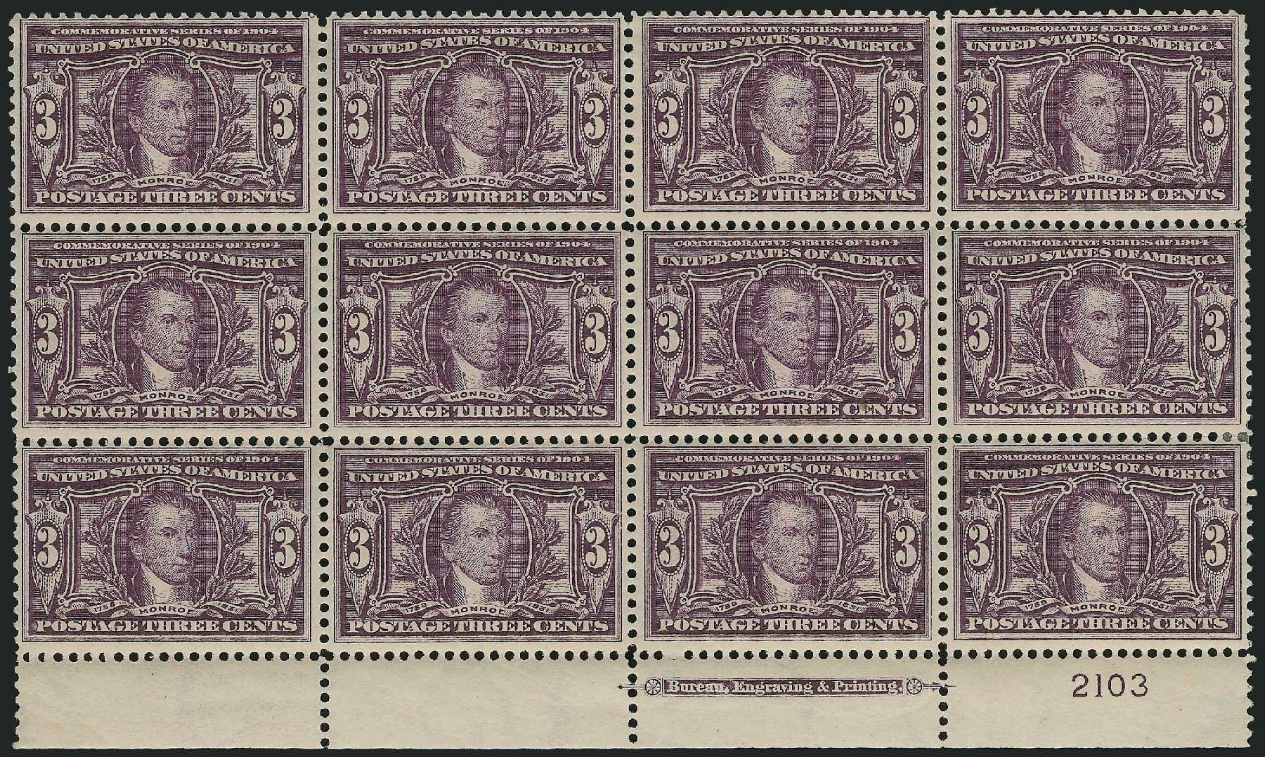Price of US Stamp Scott Cat. # 325 - 3c 1904 Louisiana Purchase Exposition. Robert Siegel Auction Galleries, Feb 2015, Sale 1093, Lot 66