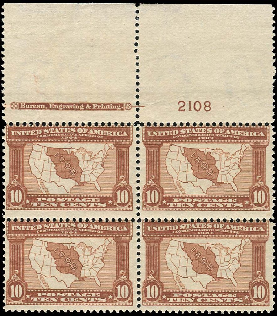 US Stamps Prices Scott Catalogue # 327 - 10c 1904 Louisiana Purchase Exposition. Regency-Superior, Nov 2014, Sale 108, Lot 1297