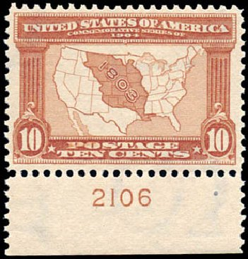Value of US Stamps Scott Cat. 327: 10c 1904 Louisiana Purchase Exposition. Schuyler J. Rumsey Philatelic Auctions, Apr 2015, Sale 60, Lot 2787