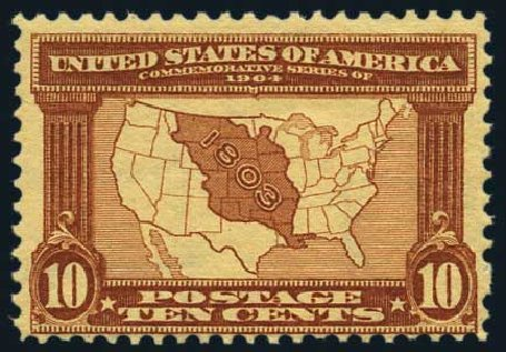 Prices of US Stamp Scott Catalogue #327 - 10c 1904 Louisiana Purchase Exposition. Harmer-Schau Auction Galleries, May 2015, Sale 105, Lot 158
