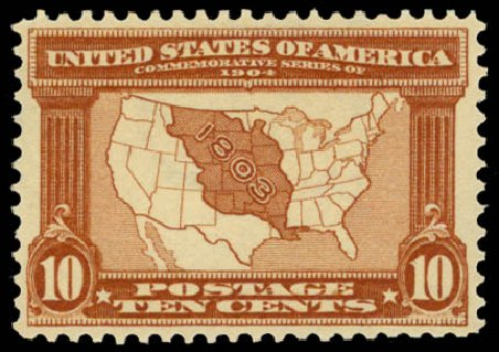 Price of US Stamps Scott Catalogue # 327 - 10c 1904 Louisiana Purchase Exposition. Daniel Kelleher Auctions, May 2014, Sale 653, Lot 2219
