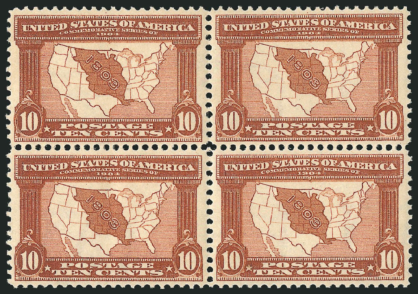 Price of US Stamps Scott Catalog #327 - 1904 10c Louisiana Purchase Exposition. Robert Siegel Auction Galleries, Sep 2014, Sale 1078, Lot 459